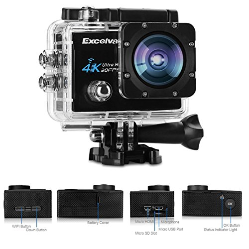 "Excelvan Q8 - Camara Deportiva de Accion Impermeable DV (2.0"" HD LCD Pantalla, 4K, WIFI, 16Mp, 170°Gran Angular, Sumergible hasta 30m, USB HDMI, Multi-Idioma), Negro"