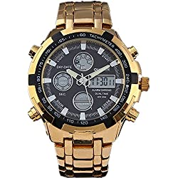 QUAMER 165 Quartz Sport Muti-Functional Wrist Watch with Analog&Digital Time Display (Gold+Black)