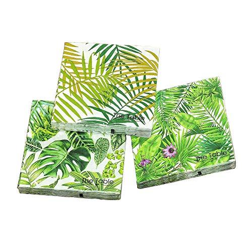 Home Collection 3er Set Servietten 60 Stück Blätter Palme Tropical Weiß Grün