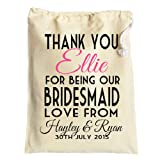 Medium Personalised bridesmaid or flowergirls wedding favour gift bag cotton drawstring