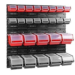 26 stck. Box mit Deckel + Wandregal 80 x 80 cm, Stapelboxen Schüttenregal Sichtlagerkästen Lagersystem