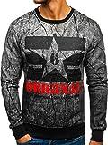 BOLF Herren Sweatshirt Ohne Kapuze mit Aufdruck Sportlicher Casual Style Motiv J.Style DD257 Grau XXL [1A1]