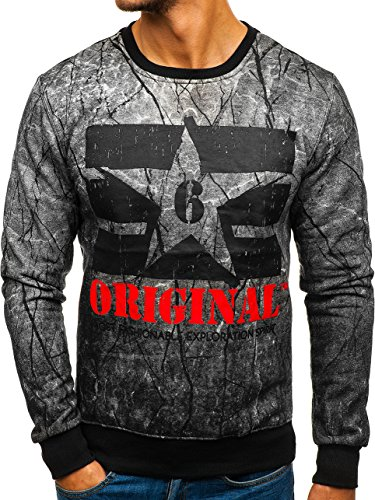 BOLF Herren Sweatshirt ohne Kapuze mit Aufdruck Sportlicher Casual Style Motiv J.Style DD257 Grau M [1A1]