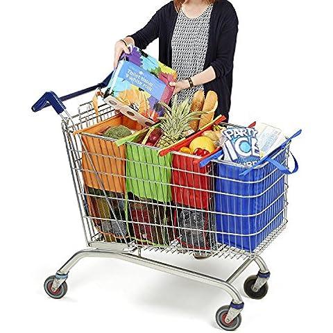 Borsa Busta Shopping Bag per la Spesa ideale per il Carrello Set 4 pezzi da 80, 55, 42 e 31 litri , riutilizzabile