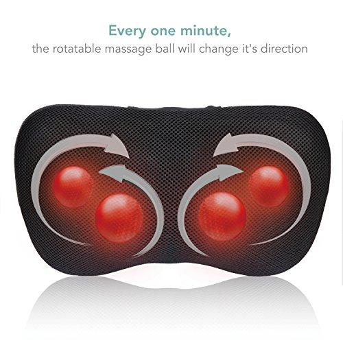 MaxKare Massagekissen Shiatsu Massagegeräte für Nacken Schulter Rücken, Elektrische Nackenmassagegerät mit Wärmefunktion und 3D-rotierenden Massageköpfen für Muskelschmerzen