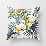 Big Motif tropical Toucan Style Parrot Ananas décoratif Taie d'oreiller avec fermeture Éclair invisible sur toile Couvre-lit Taie d'oreiller pour canapé et canapé 45x 45cm