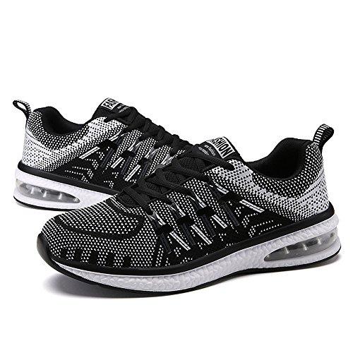 Santiro Unisex Uomo Donna Scarpe da Ginnastica Basse Sportive Outdoor Tennis Running Sneakers. Nero