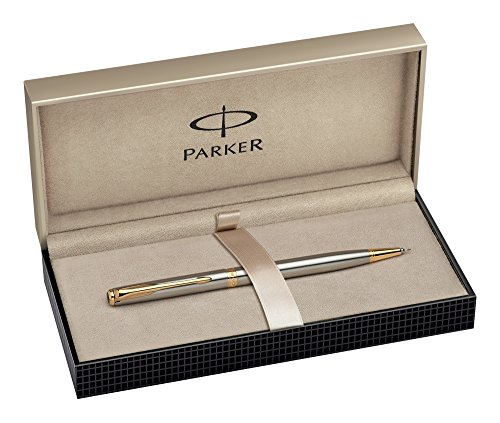 Parker   Portaminas y caja (acero inoxidable, punta dorada)