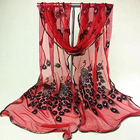 CALISTOUS 1Pc Peacock Print Chiffon Scarf Full Match Your Dress Show Your Style Red by CALISTOUS - Show Off Peacock