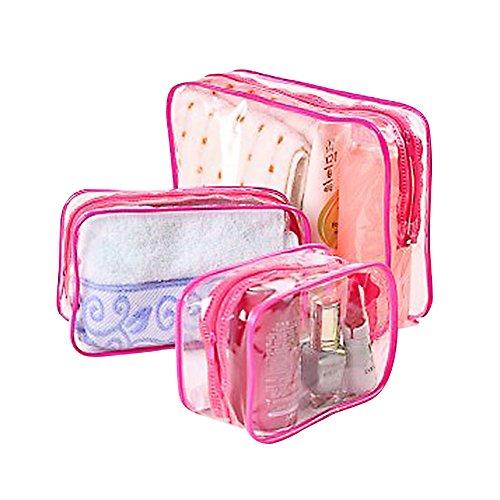 Daorier Trousse de Maquillage Transparent Stockage Sac à Maquillage en PVC Trousse de Toilette Organisateur des Cosmétiques de Voyage,1 Set of 3 Pcs (Rose)