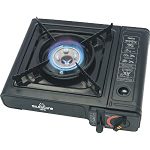51y8bLXfevL. SS300  - Milestone Camping Men's 18940 Portable Lightweight Gas Stove Single Burner Camping-Black, one size