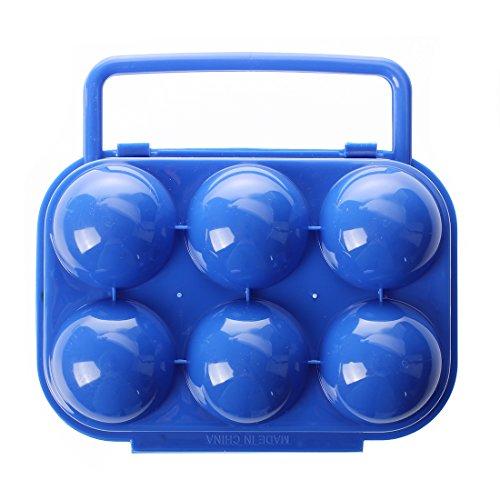 SODIAL(R)Tragbarer Plastik Eier Traeger Halter fuer 6 Eier - Blau