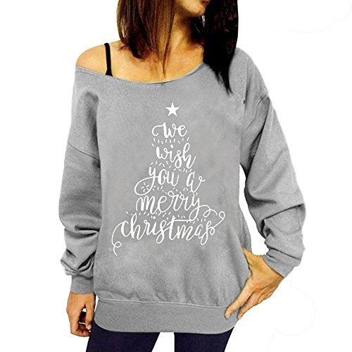 SEWORLD Vintage Weihnachten Damen Christmas Weihnachtsmann Muster Casual T-Shirt Lange O-Ausschnitt Langarm Tops Pullover Sweatshirt Oberteile(X2-grau,EU-38/CN-L)