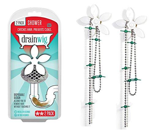 DrainWig Shower Drain Hair Catcher (2 in a Pack) Never Clean a Clogged Drain Again! by DrainWig