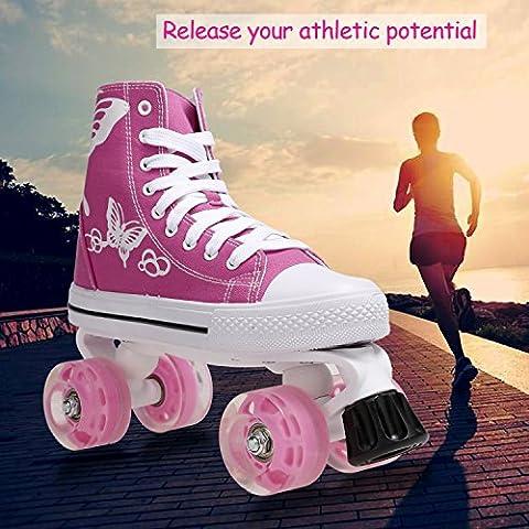 Befied Discoroller Rollschuh für Kinder und Erwachsene aus Canvas-Material größenverstellbar mit Bremsen (Rosa)