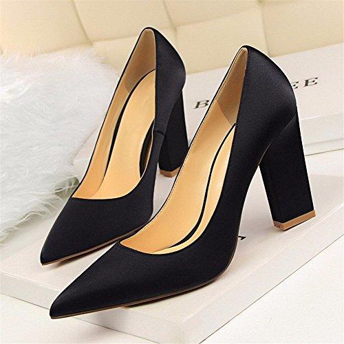 FLYRCX Europea di moda in pelle appuntita in seta scarpe con i tacchi alti con spessi bocca poco profonda F