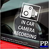 4 x 60x87mm In Car Camera Recording Window Stickers-CCTV Sign-Van,Lorry,Truck,Taxi,Bus,Mini Cab,Minicab.White onto Clear Adhesive Vinyl Signs-Go Pro,Dashcam