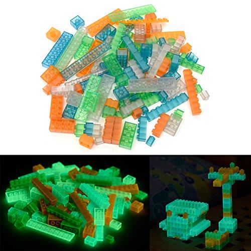 lumentics Leuchtsteine - Im Dunkeln leuchtende Spielsteine. Mehrfarbig, kompatibel, passgenau und geprüft. Leuchtet bis zu Einer Stunde. (Menge: 104 Stück, Farbe: Multi)