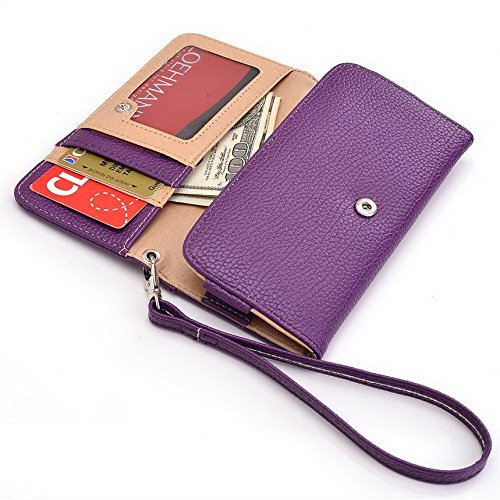 Kroo Pochette Téléphone universel Femme Portefeuille en cuir PU avec dragonne compatible avec MOTOROLA MOTO Maxx/G 4G Dual SIM (2e génération) Multicolore - Magenta and Black Violet - violet