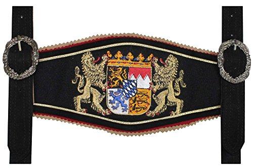 GermanWear, Trachten Hosenträger lederhosen mit Bayerischem Wappen-stickerei, Farbe:Schwarz