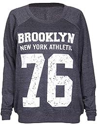 Mix lot new womens ladies designer brooklyn graphic printed jumper sweatshirt size 8-14