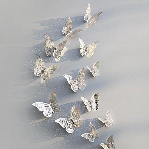 NINGSANJIN Wandaufkleber Wandtattoo Papier Abnehmbare selbstklebend Tapete für Schlafzimmer Wohnzimmer moderne Hintergrund TV-Decor,12pcs 3D Durchbrochener Schmetterling (D)
