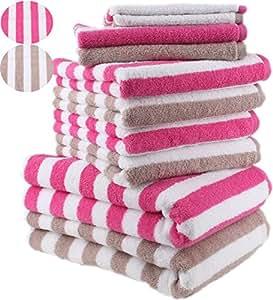 10 tlg. Handtuch Set STREIFEN Farbe Fuchsia & Beige 100% Baumwolle 2 Duschtücher 4 Handtücher 2 Gästetücher 2 Waschhandschuhe
