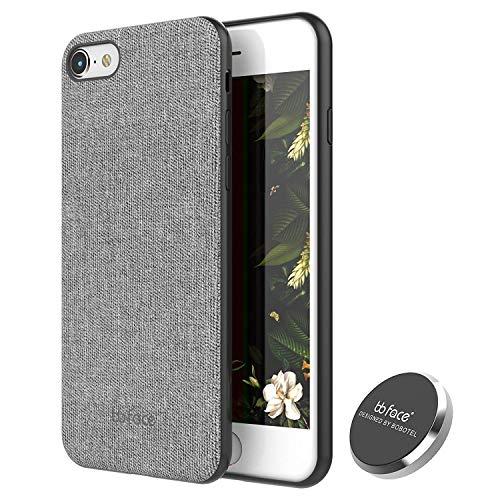 """bb face Für iPhone 7/8 Hülle (4.7\"""") Leder Gewebe Muster Telefon Abdeckungs Magnet saugfähige Funktion stark zurück Fall mit In-Auto-Magnet-Halter (stützen Sie Nicht drahtlose Aufladung) - Grau"""