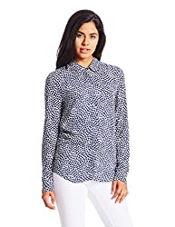 Tommy Hilfiger Womens Body Blouse Top (A6AWW0184_Ceren Prt Medieval Blue)