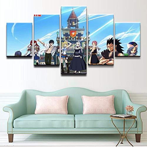 SHANYUR Bilder Vlies Leinwandbild Kunstdruck modern Wandbilder Wanddekoration Design Wand Bild 5 Pcs/Set Fairy Tail 100/80/60x40(cm) with Frames