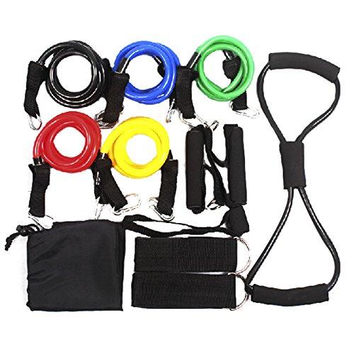 Andux Zone Set completo tubi elastici per fitness,con banda Handle,Porta Anchor,Cinturino e borsa TLD-05