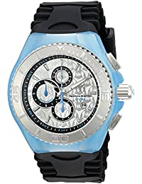 Technomarine Women's Quartz Watch with Silver Dial Chronograph Display and Black Silicone Strap TM-115192