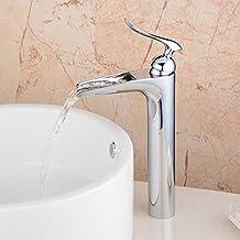 Hiendure® contemporaine robinet d'évier cascade salle de bains Mitigeur de lavabo bec haut , chromé