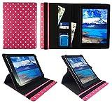 Sweet Tech Majestic TAB-611 3G 10.1 Pollici Tablet Pois Rose Dots Universale 360 Gradi di Rotazione PU Pelle Custodia Case Cover (9-10 Pollici