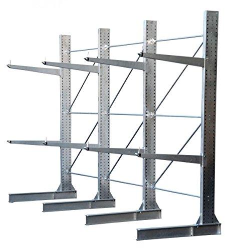 3,3m Kragarmregal verzinkt, 300cm hoch, 100cm tief, 3 Kragarmebenen – Langgutregal Schwerlastregal - 7