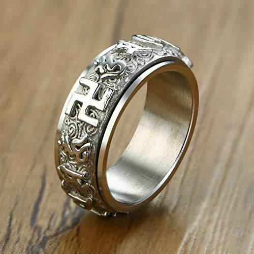 ERDING Unisex/Verlobungsring/Freundschaftsring/Einzigartige 8 MM Spinner Ringe für Männer Frauen Gold und Silber Ton Edelstahl Buddhismus Männlicher Unisex Ring Ring Jude
