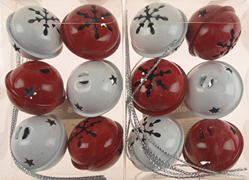12campanellini rossi e bianchi, decorazioni per l'albero di natale