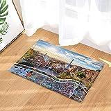 fuhuaxi Wanderlust Cortina de Ducha Barcelona Famoso Parque de Verano Estera antirresbaladiza Alfombra de baño Alfombra de baño 15.7x23.6in