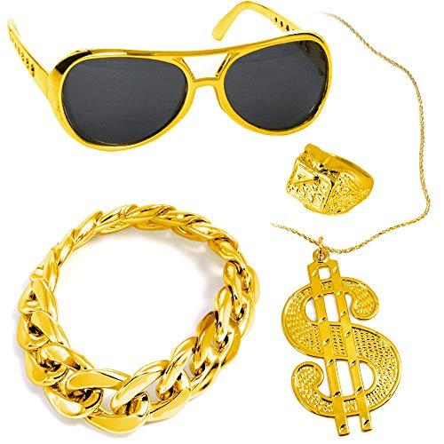 German Trendseller® - Gangster - Set - Deluxe ┃ Rapper Gold Brille + Dollar Kette + Armband + Ring ┃ Gangster ┃ Party ┃ USA ┃ 4 - Teiliges Set