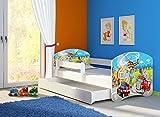 Clamaro 'Fantasia Weiß' 160 x 80 Kinderbett Set inkl. Matratze, Lattenrost und mit Bettkasten Schublade, mit verstellbarem Rausfallschutz und Kantenschutzleisten, Design: 37 Feuerwehr