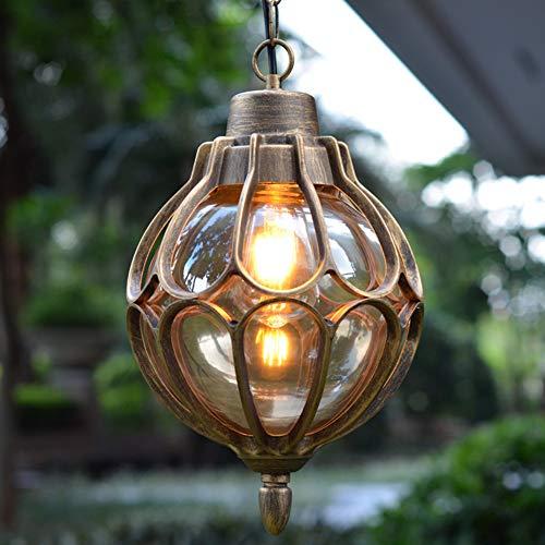 INJUICY Vintage Lámparas de Techo de Metal y Vidrio Araña Lámparas de Techo al Aire Libre Impermeables Antiguo Exterior Iluminación Colgante para Jardín Balcón Patio (Oro)