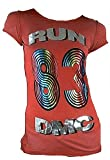 Amplified Damen Lady Viskose Tunika T-Shirt Rot Red Bleached Official RUN DMC Merchandise Hip Hop 80 er Kult Rap Silber Folien Print Rock Star Vintage Nähte Aussen ViP Rockstar XS 34