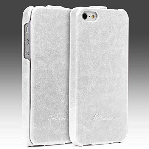 Urcover® Apple iPhone 5 / 5s / SE Schutz-Hülle | Flip Cover Rot | Fashion Klapp Tasche | Handy Smartphone Zubehör Case für Apple iPhone SE / 5 / 5s Weiß
