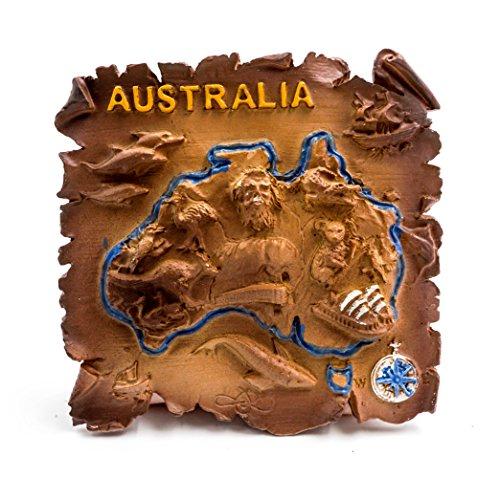 3D Résine Aimant de Réfrigérateur Tourist Souvenir de Voyage - Australie (Cartes Marines)