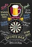 Sports Bar: Darts pub sign, kneipe schild, barschild, schwarz schild aus blech, metal signs, tin