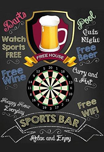 Sports Bar: Darts Pub Sign, Kneipe Schild, barschild, schwarz blechschild