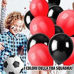 Idea Regalo - kina 50 Pezzi Palloncini Rotondi 11 Pollici in Lattice Colori Rosso e Nero per Feste Compleanno, Bambini, Squadra Calcio