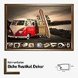 Kunstdruck Poster - VW Bulli Rot Sufboard Beach Strand 61 x 91,50 cm mit MDF-Bilderrahmen Pisa & Acrylglas reflexfrei, viele Farben zur Auswahl, hier Eiche Rustikal Dekor