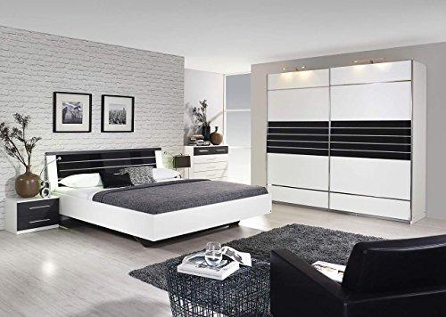 lifestyle4living Schlafzimmer, Schlafzimmermöbel, Schlafzimmereinrichtung, 4-teilig, Schwebetürenschrank, Bettanlage mit 2 Nachtschränken, alpinweiß,