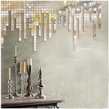 Saifee - Acrylic 3D Home & Office Dã©Cor Wall Sticker - Modern Square Mosaic Wall Sticker (100 Pieces) Sliver Mirror